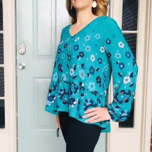 Loft Green Floral Peplum Top Medium
